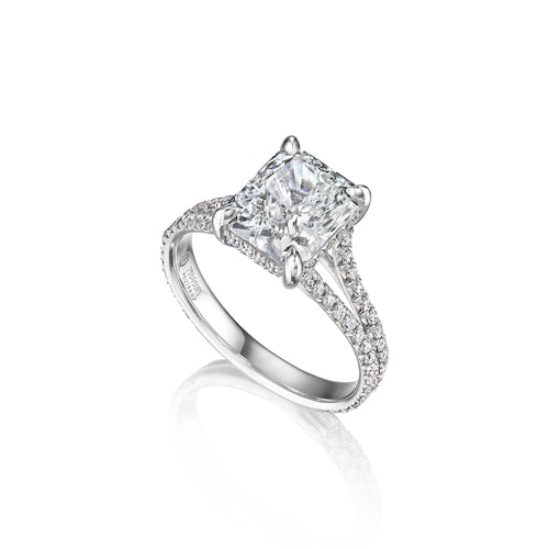Fink's Exclusive Platinum and 18K White Gold Radiant Cut Diamond Engagement with Split Shank