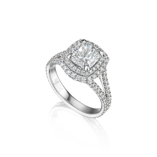Fink's Exclusive Platinum Cushion Cut Diamond Double Halo and Split Shank Engagement Ring
