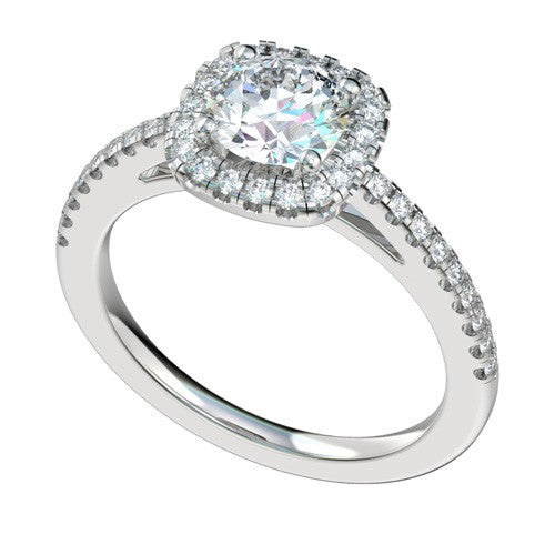 Fink's Exclusive Platinum Cushion Cut Center Diamond Halo Engagement Ring
