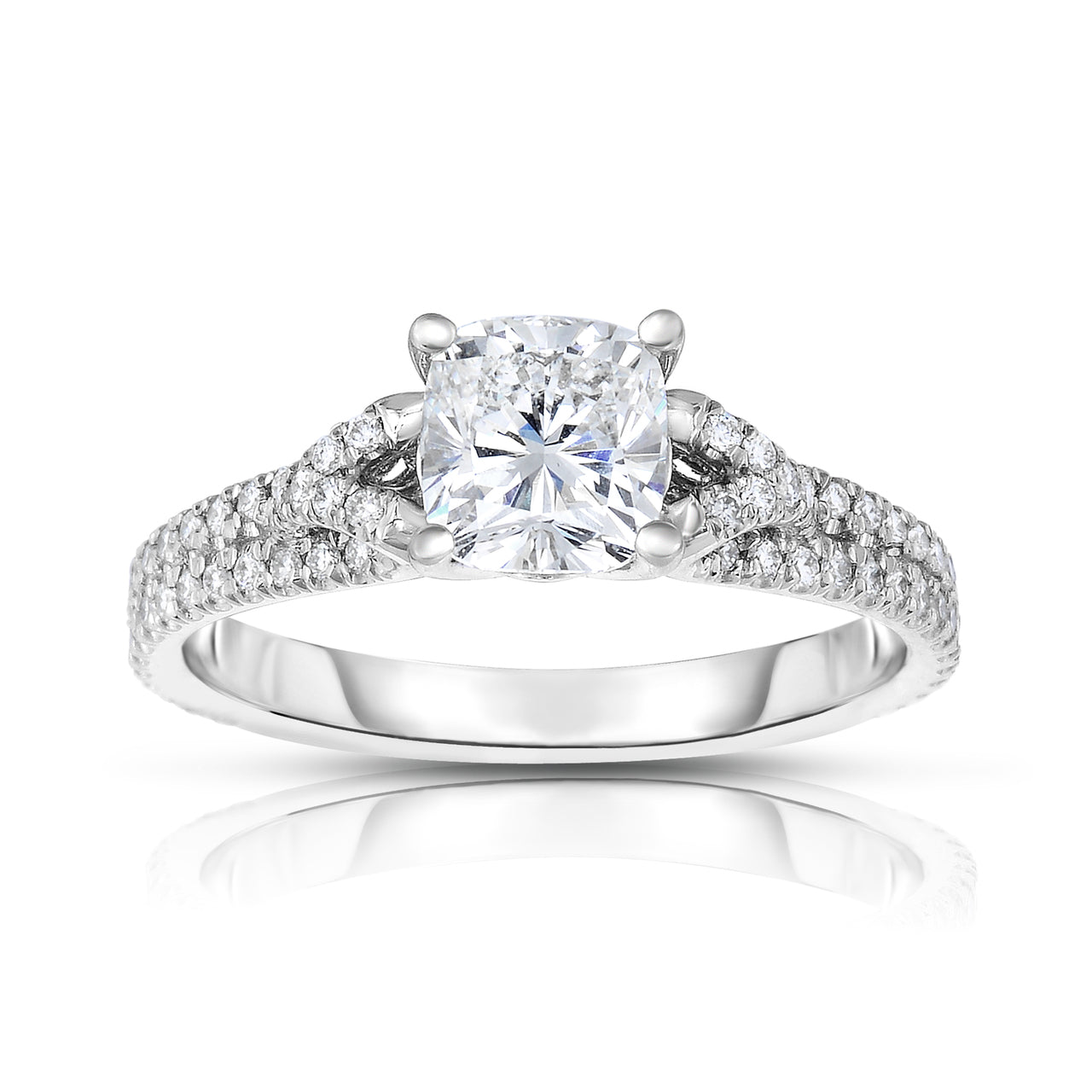Fink's Exclusive Platinum Cushion Cut Diamond Shank Engagement Ring