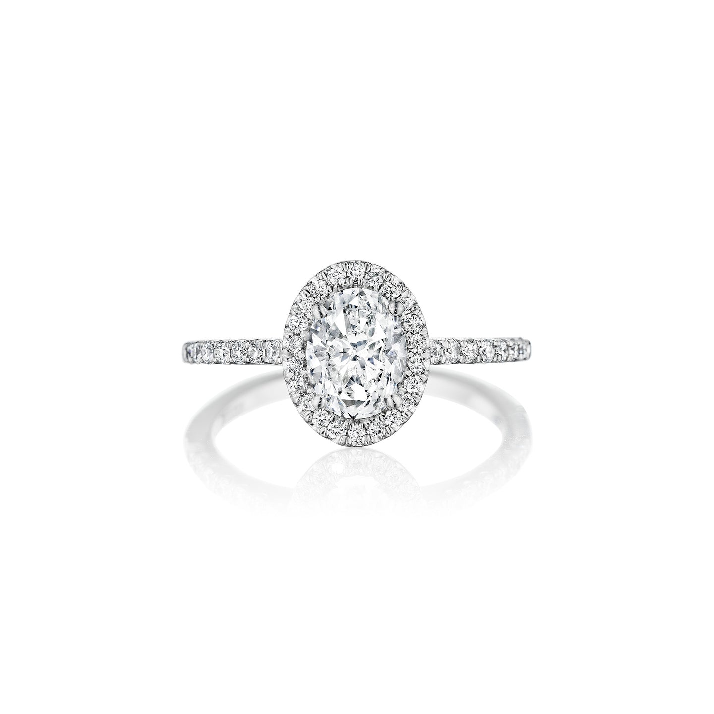 Fink's Exclusive Platinum Oval Diamond Halo Engagement Ring