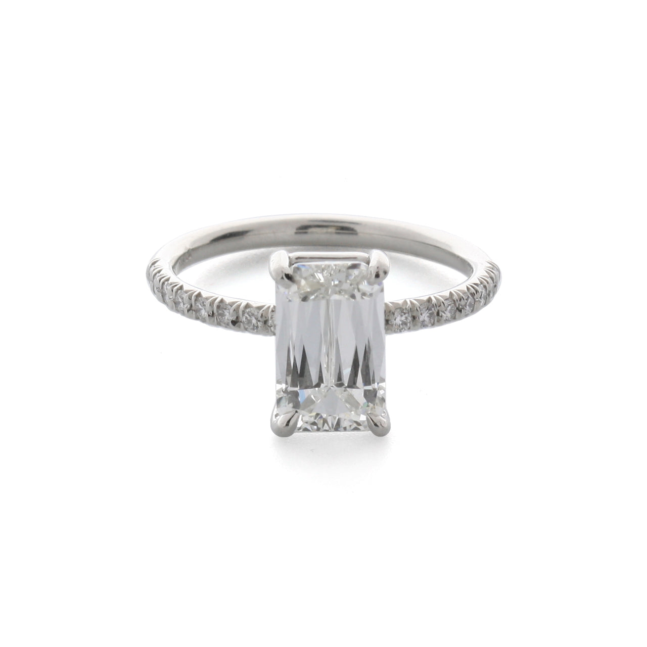 Fink's Platinum ASHOKA® Diamond Pavé Shank Engagement Ring