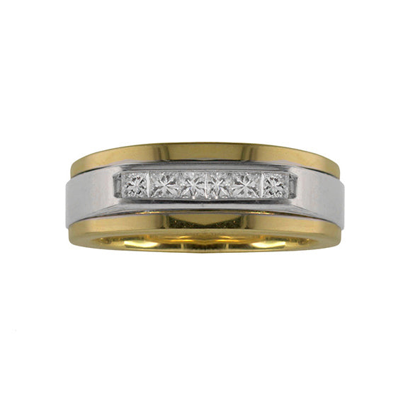 Fink's Men's Two-Tone Wedding Band with Diamonds