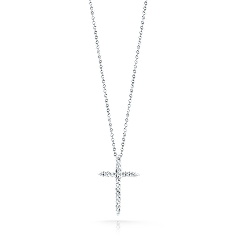Roberto Coin Tiny Treasures 18K White Gold and Diamond Thin Cross Pendant
