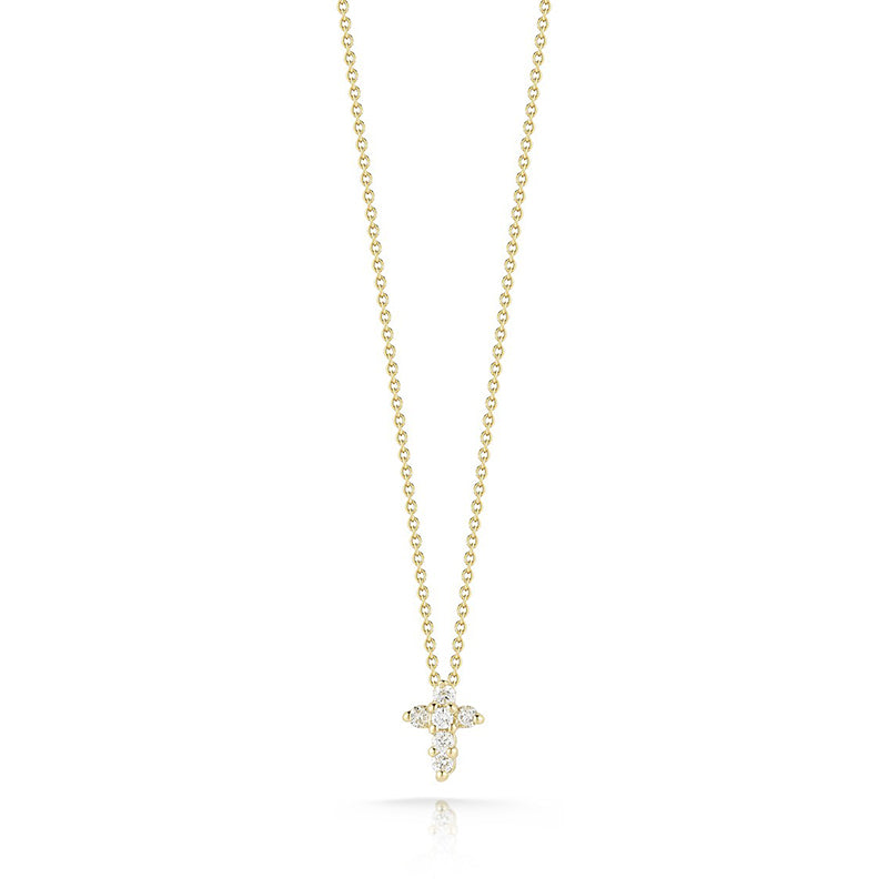 Roberto Coin Tiny Treasures Small Yellow Gold and Diamond Cross Pendant