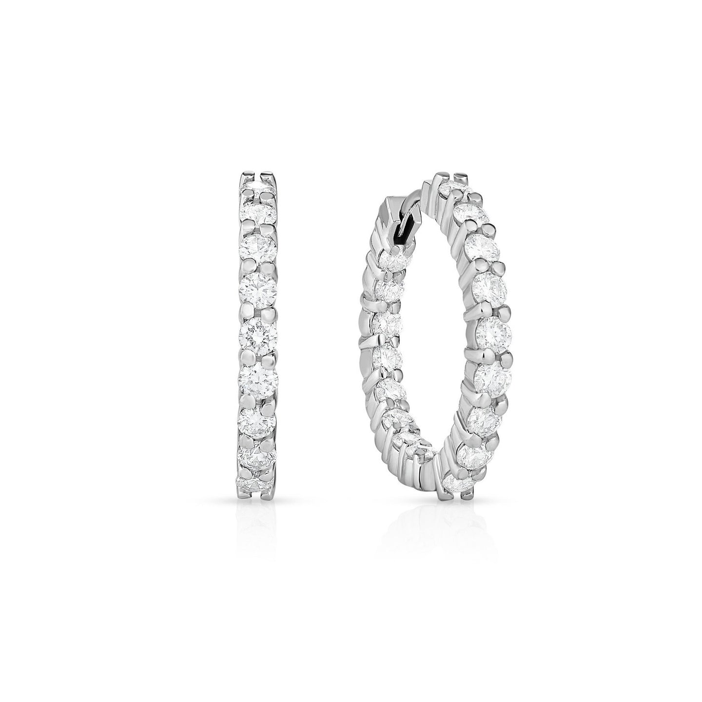 Roberto Coin Perfect Diamond Hoops 18K White Gold Medium Diamond Hoops