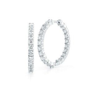 Roberto Coin Perfect Diamond Hoops 18K White Gold Small Diamond Inside-Out Hoop Earrings