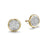 Load image into Gallery viewer, John Hardy Bamboo 18K Yellow Gold Gold Round Diamond Pavé Stud Earrings