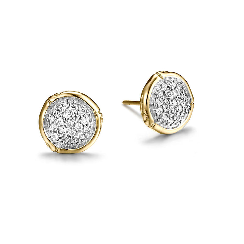 John Hardy Bamboo 18K Yellow Gold Gold Round Diamond Pavé Stud Earrings