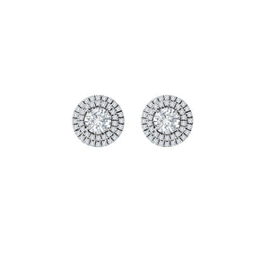 Forevermark Round Diamond Double Halo Stud Earrings