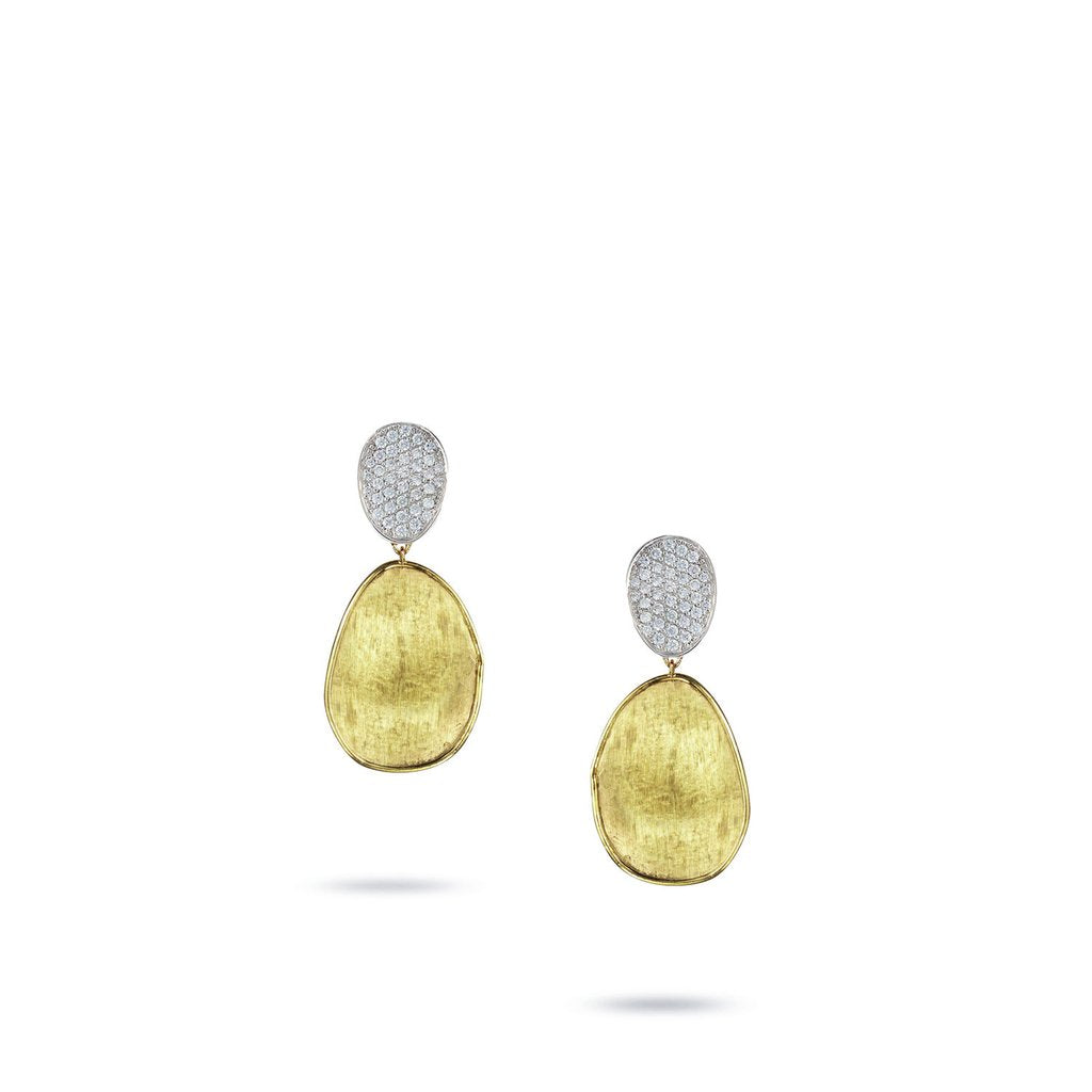 Marco Bicego Lunaria 18K Yellow Gold Hand-Engraved Large Stud Dangle Earrings with Diamonds