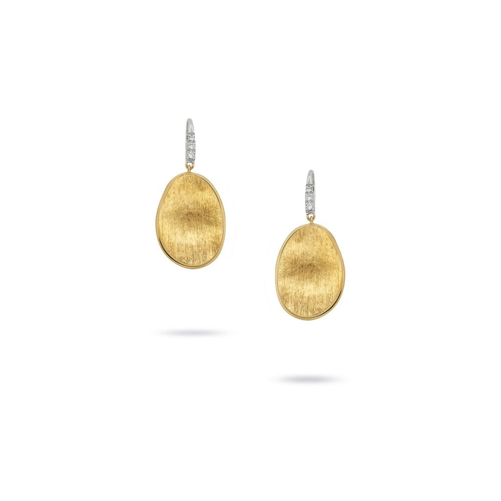 Marco Bicego Lunaria 18K Yellow Gold Hand-Engraved Earrings with Diamonds
