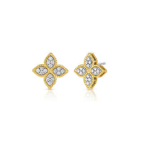 Roberto Coin Princess Flower 18K Yellow Gold Diamond Stud Earrings