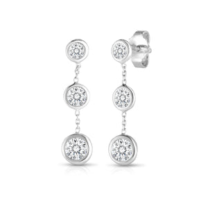 Roberto Coin Diamonds by the Inch Three Station Dangle Earrings
