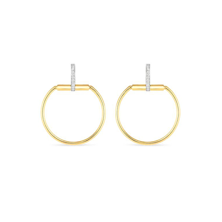 Roberto Coin Classica Parisienne 18K Yellow Gold Medium Circle Earrings