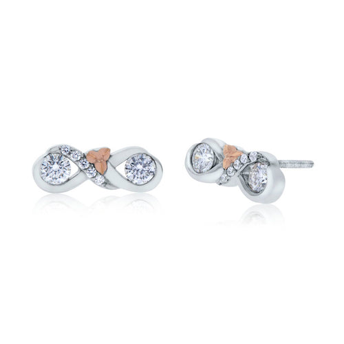 Devotion Two Stone 18K White and Rose Gold Diamond Stud Earrings