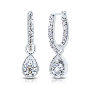 Devotion Lys 18K White Gold Diamond Dangle Hoop Earrings