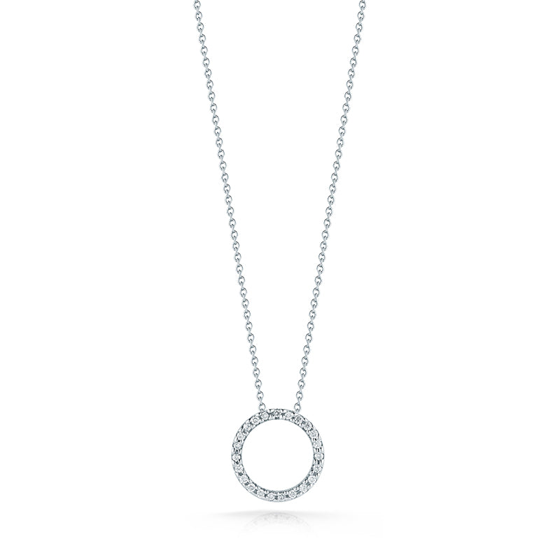 Roberto Coin Tiny Treasures Small White Gold and Diamond Circle Pendant