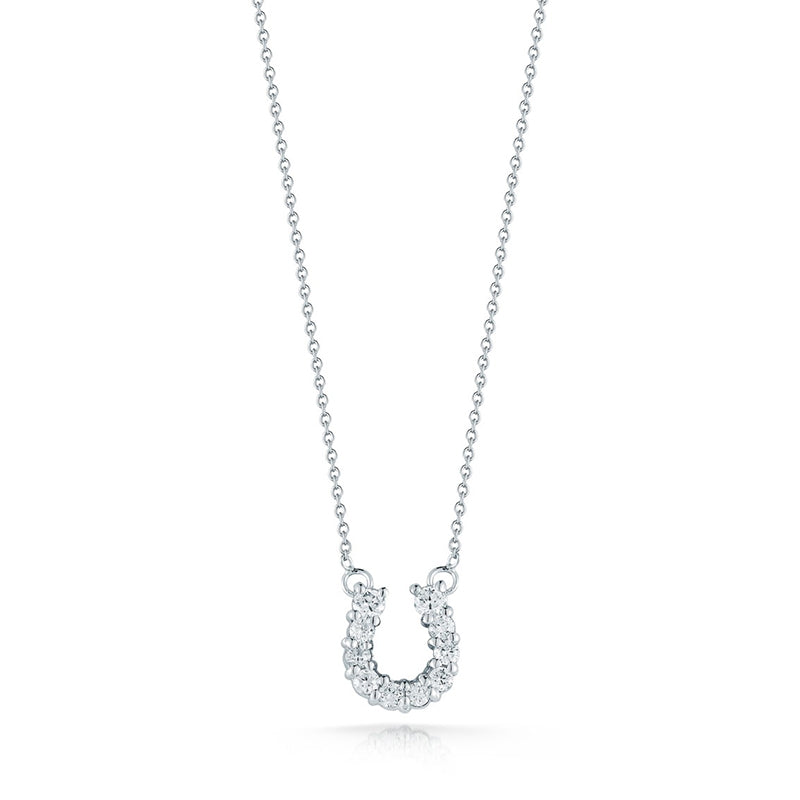 Roberto Coin Tiny Treasures 18K White Gold and Diamond Horseshoe Pendant