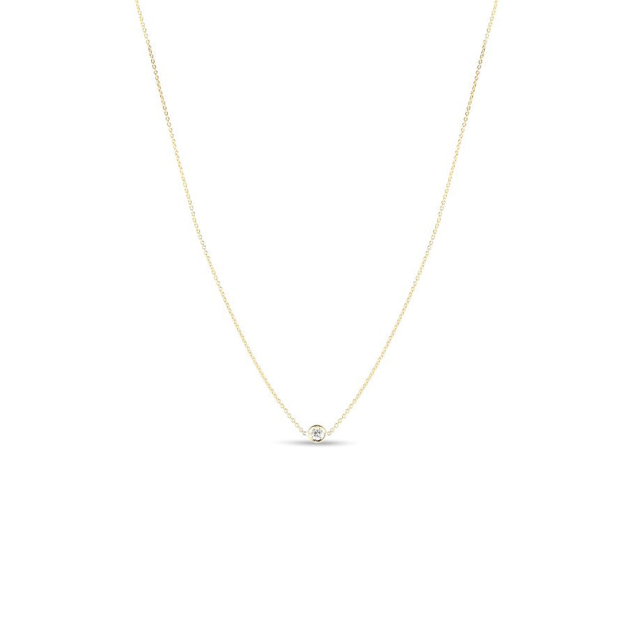 Roberto Coin Diamonds by the Inch Single Diamond Bezel Chain Necklace