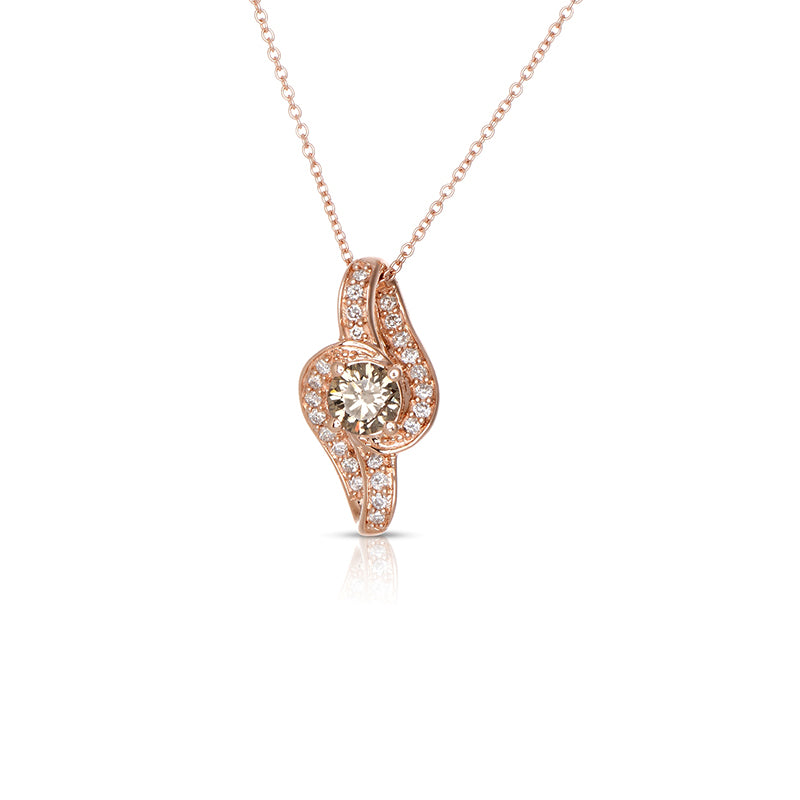 Sabel Collection 14K Pink Gold Swirl Mocha Diamond Pendant