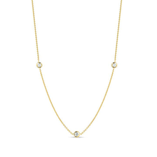 Roberto Coin Diamonds by the Inch 18K Yellow Gold 3-Station Necklace