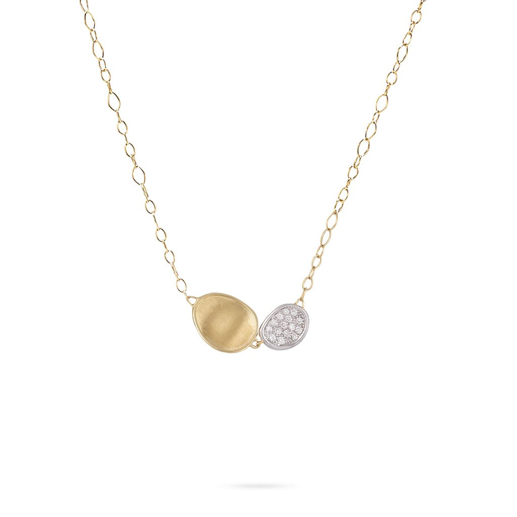 Marco Bicego Lunaria 18K Gold Hand-Engraved Two Element Necklace with Diamonds