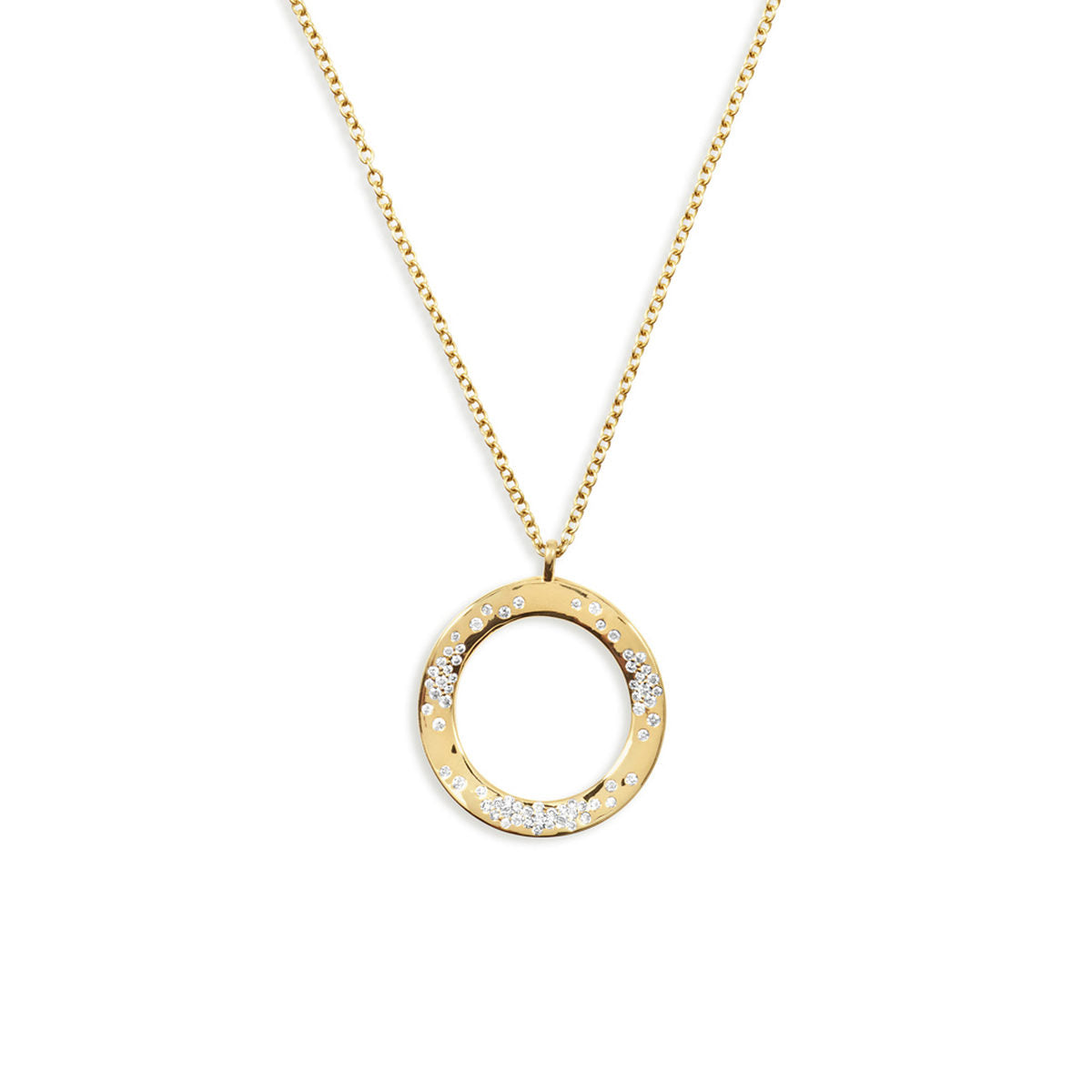 IPPOLITA Stardust 18K Yellow Gold Wavy Circle Pendant Necklace with Diamonds