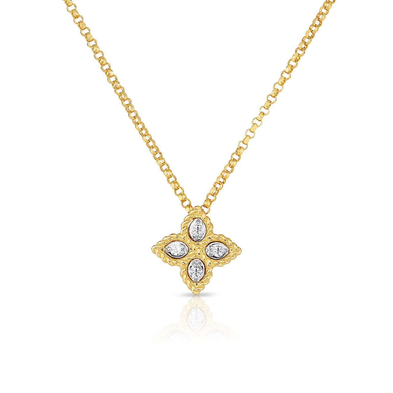 Roberto Coin Princess Flower Small 18K Yellow Gold and Diamond Accent Pendant