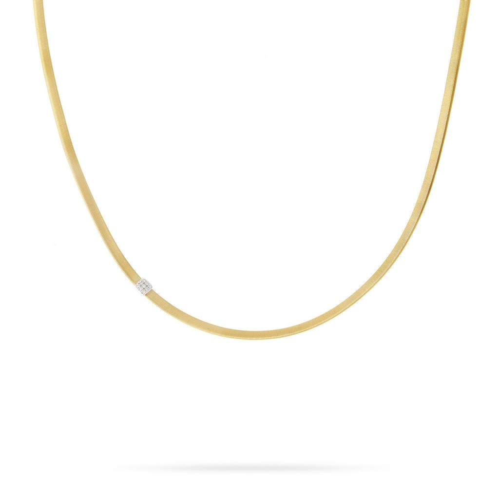 Marco Bicego Masai 18K Yellow Gold Single Diamond Station Necklace