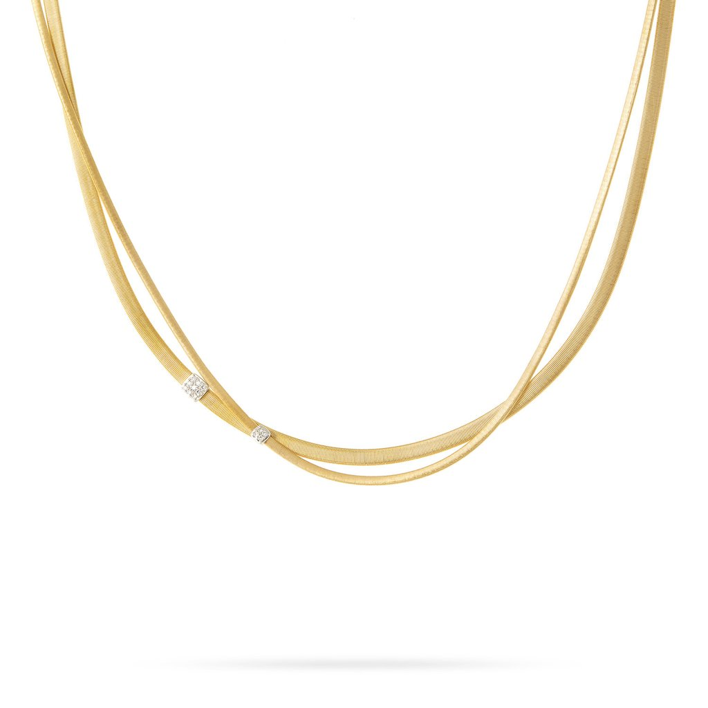 Marco Bicego Masai 18K Yellow Gold 2 Strand Diamond Station Necklace