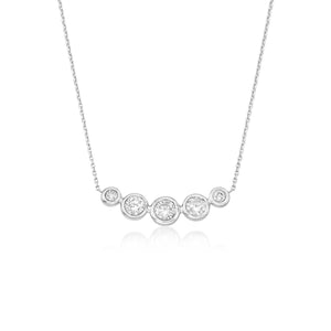 Roberto Coin Classic Diamond 18K White Gold 5 Diamond Bezel Necklace