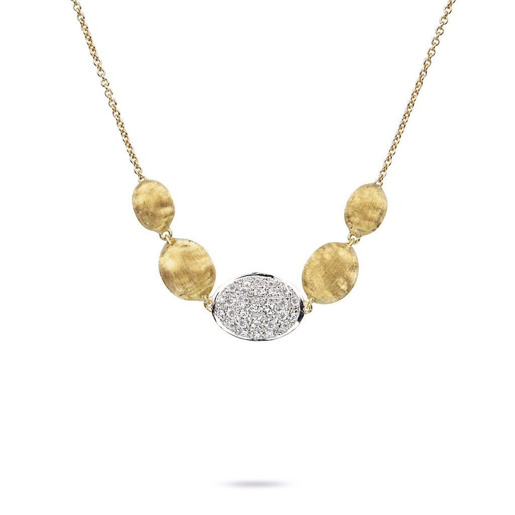 Marco Bicego Siviglia 18K Yellow and White Gold Diamond Disc Necklace