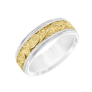 Fink's Men's 7.5mm Filigree Engraved Gold Wedding Band