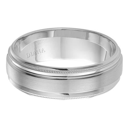 Diana Men's 7mm Brushed Finish Milgrain Edge Wedding Band