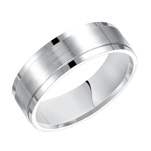 Fink's Men's 7mm 14K White Gold Engraved Wedding Band