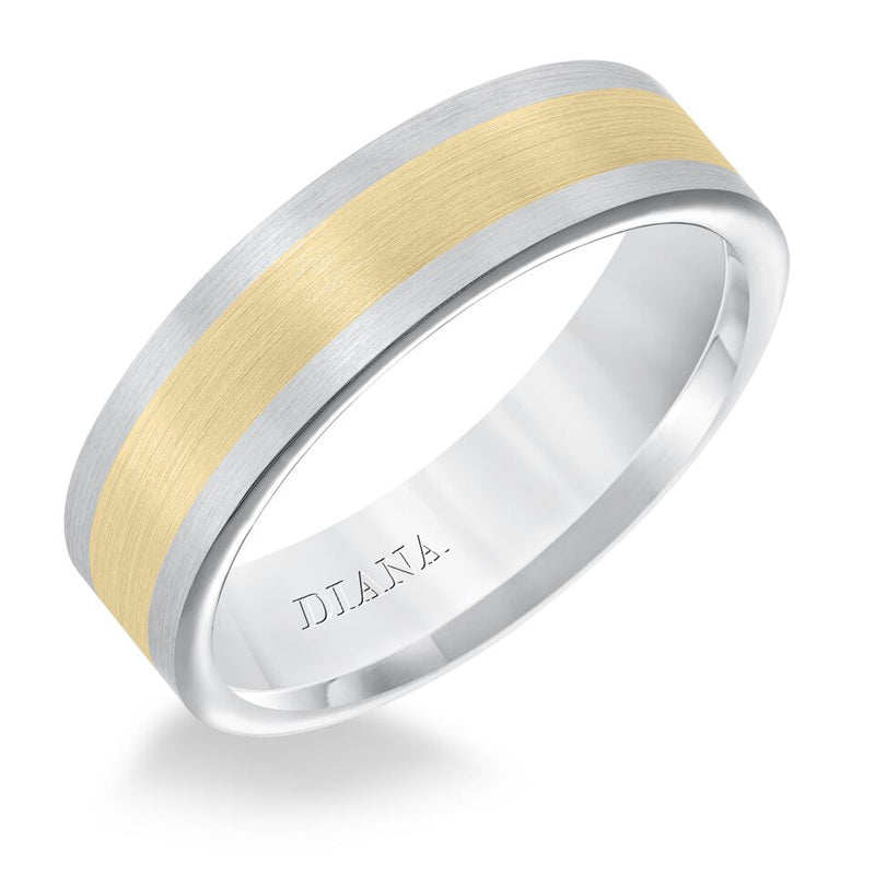 Diana Men's 6mm 14K Two-Tone Flat Wedding Band