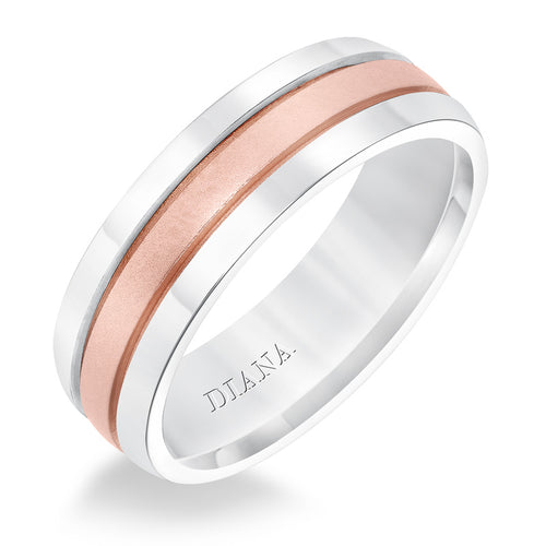Diana Men's 7mm 14K White and Rose Gold Wedding Band