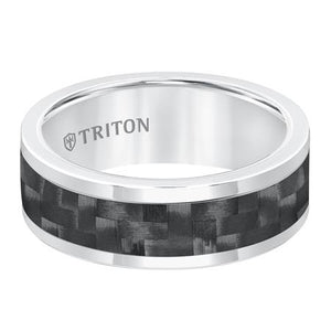 Triton Men's 8mm White Tungsten and Black Carbon Fiber Comfort Fit Band