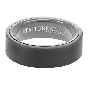 Triton RAW Men's 7mm Black PVD Tungsten Flat Profile Wedding Band