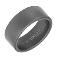 Triton RAW Men's 9mm Grey PVD Tungsten Smooth Edge Wedding Band