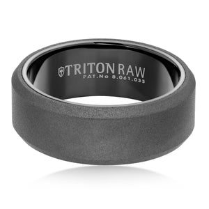 Triton RAW Men's 8mm Black PVD Tungsten Beveled Edge Wedding Band
