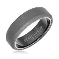 Triton RAW Men's 6mm Grey PVD Tungsten Beveled Edge Flat Profile Wedding Band