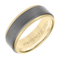 Triton RAW Men's 8mm 18K Yellow Gold and Grey PVD Tungsten Step Edge Wedding Band