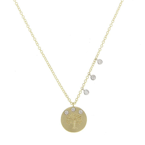Meira T 14K Yellow Gold Tree of Life Charm Necklace with Bezel Set Diamonds