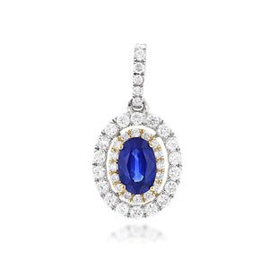 Sabel Collection 14K Gold Oval Sapphire and Double Halo Diamond Pendant