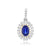 Load image into Gallery viewer, Sabel Collection 14K Gold Oval Sapphire and Double Halo Diamond Pendant