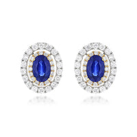 Sabel Collection 14K Gold Oval Cut Sapphire and Double Halo Diamond Stud Earrings