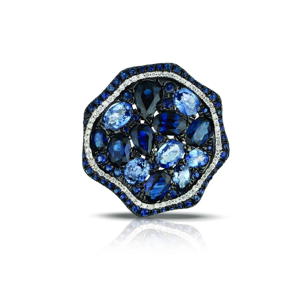 Marco Moore 14K White Gold Sapphire and White Diamond Ring