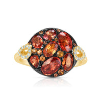 Marco Moore 14K Yellow Gold Orange Sapphire and Diamond Ring